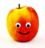 Ripe apple with smiley face Stock Images