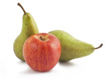 Ripe apple and two pears. Ripe red apple and two green pears isolated on white background Stock Photos