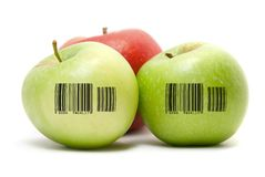 Ripe apples with barcode Stock Image