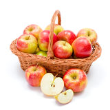 Ripe apples in basket Stock Photography