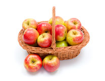 Ripe apples in basket Stock Photos
