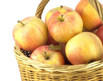 Ripe apples in basket isolated closeup Royalty Free Stock Photo