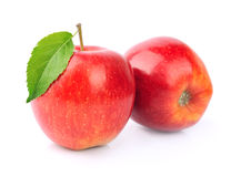 Ripe apples with leaves Royalty Free Stock Photos