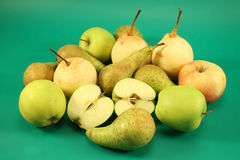 Ripe apples and pears Stock Photo
