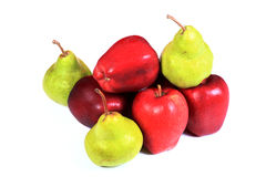 Ripe apples and pears Stock Photos