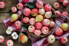 Ripe apples and pears on a wooden platform, top view. Royalty Free Stock Photography