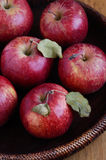 Ripe apples in rustic wooden bowl Royalty Free Stock Photography
