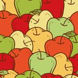 Ripe Apples Seamless Pattern. Color vector illustration. Wallpaper Stock Photography