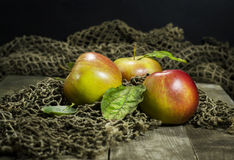 Ripe apples on a wooden background. With a grid stock images