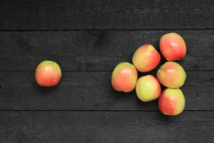 Ripe apples on wooden background royalty free stock photo