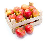 Ripe apples in wooden carte Royalty Free Stock Photography