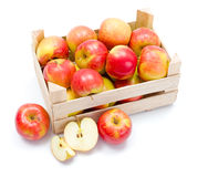 Ripe apples in wooden carte Royalty Free Stock Photo