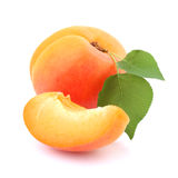 Ripe apricot with leaf Stock Photography