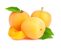 Ripe apricot with leaves Stock Photo