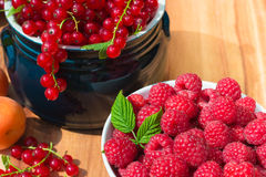 Ripe Apricot, Raspberry and Red Currant Royalty Free Stock Images