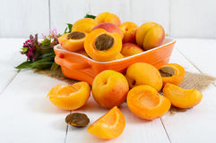 Ripe apricots in a ceramic bowl Stock Images
