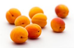 ripe apricots isolated on white backg Royalty Free Stock Photos