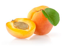 Ripe Apricots with Leaf. Isolated on White Background Stock Photo