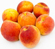 Ripe apricots. Seven apricots on white background Stock Photo