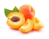 Ripe apricots with slices Royalty Free Stock Image