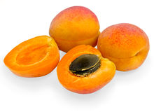 Ripe apricots. On a white background royalty free stock image