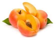 Ripe apricots on the white background Royalty Free Stock Images