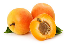 Ripe apricots on the white background Royalty Free Stock Photo
