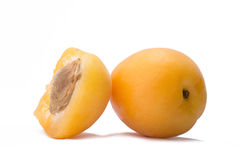 Ripe apricots on a white background Royalty Free Stock Photo