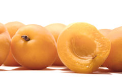 Ripe apricots on a white background Royalty Free Stock Photography