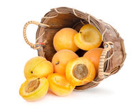 Ripe apricots in a wooden basket Royalty Free Stock Photography