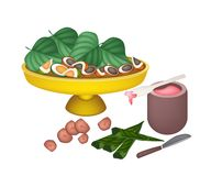 Ripe Areca Nuts and Betel Leaves on A Tray royalty free illustration