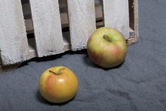 Ripe aromatic apples on a gray cloth. Nearby is a wooden box, knocked out of the boards. Ripe aromatic apples on a gray cloth. Nearby is a wooden box, knocked royalty free stock photography