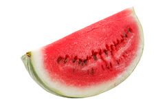 Ripe astrakhan watermelon studio  isolated. Slice of melon without shadows on white background Stock Photos