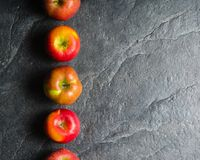 Ripe autumn apples red and yellow on a black stone background from slate. Harvesting. Vitamins are good for health. Stock Photography