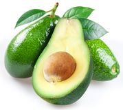 Ripe avacados with leaves. royalty free stock photos