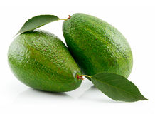 Ripe Avocado With Green Leaf Isolated on White Royalty Free Stock Image