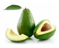 Ripe Avocado With Green Leaf Isolated on White stock photography