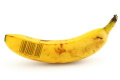 Ripe banana with bar code Stock Photo