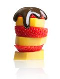 Ripe banana and berry strawberry isolated Royalty Free Stock Photo