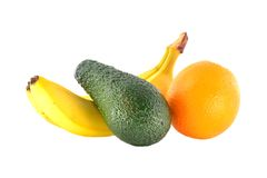 Ripe banana, tangerine and avocado Royalty Free Stock Images