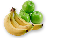 Ripe bananas and apples Royalty Free Stock Photography