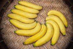 Ripe bananas on a bamboo tray Royalty Free Stock Photo
