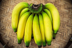Ripe bananas on a bamboo tray Royalty Free Stock Photography
