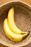 Ripe bananas in a basket Royalty Free Stock Photos