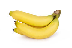 Ripe bananas bunch isolated on white background.  Royalty Free Stock Photos