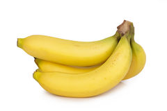 Ripe bananas bunch isolated on white background.  Royalty Free Stock Photography