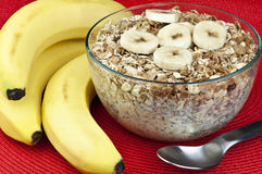 Ripe bananas and cereal Royalty Free Stock Photos
