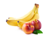 Ripe bananas and peaches . Stock Photos