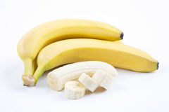 The ripe bananas with pieces Royalty Free Stock Photo
