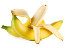 Ripe bananas on white Stock Photos